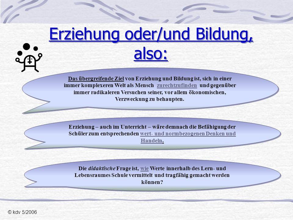 Seminar-Verlauf I.: © kdv 5/2006 SonntagSeminarbeginn Sind wir Wissensvermittler/innen oder Persönlichkeitsbildner/innen.