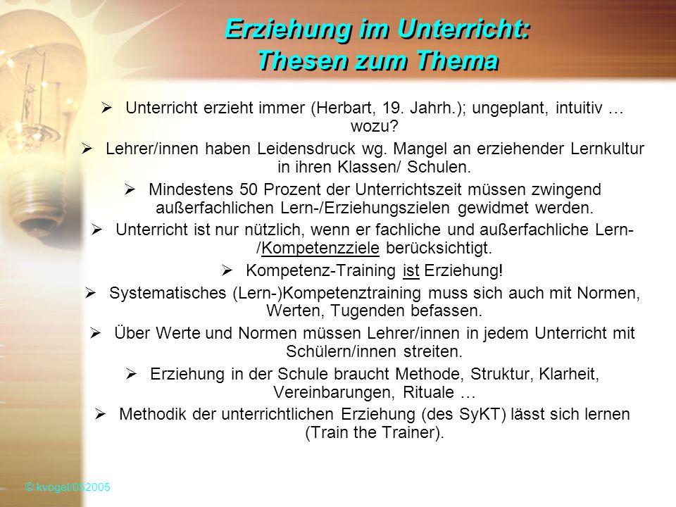 Erziehung im Unterricht: Thesen zum Thema Unterricht erzieht immer (Herbart, 19.