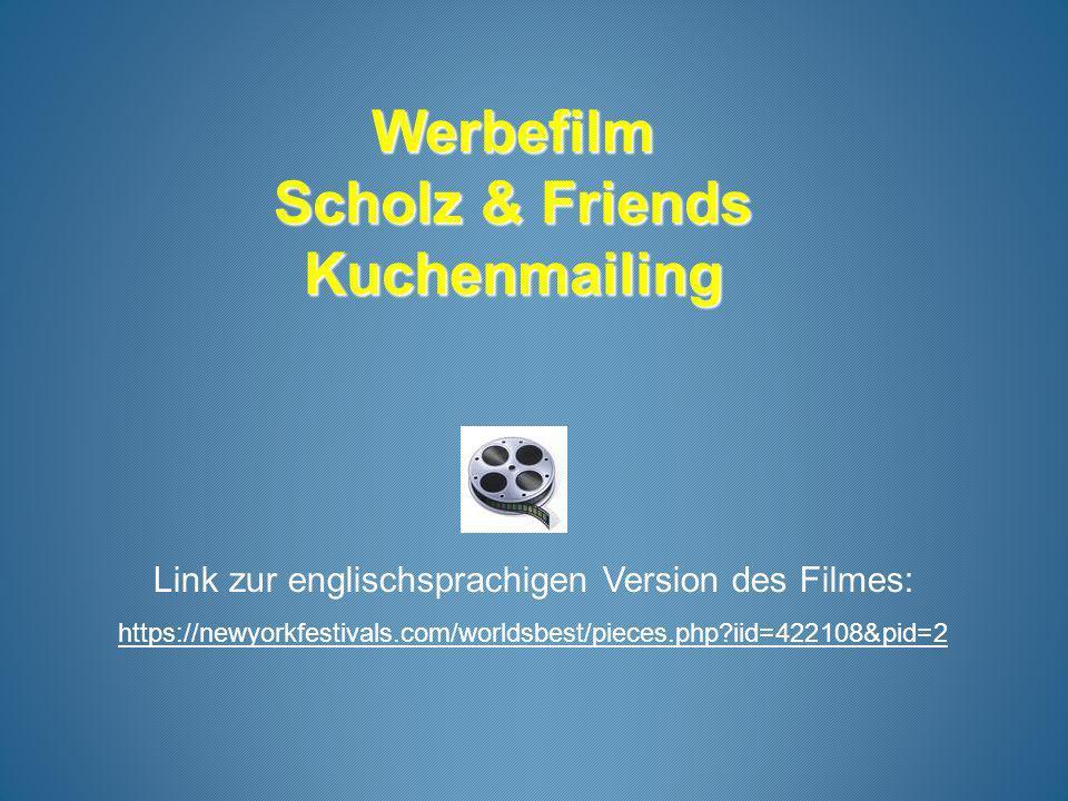 Werbefilm Scholz & Friends Kuchenmailing Link zur englischsprachigen Version des Filmes: https://newyorkfestivals.com/worldsbest/pieces.php?iid=422108