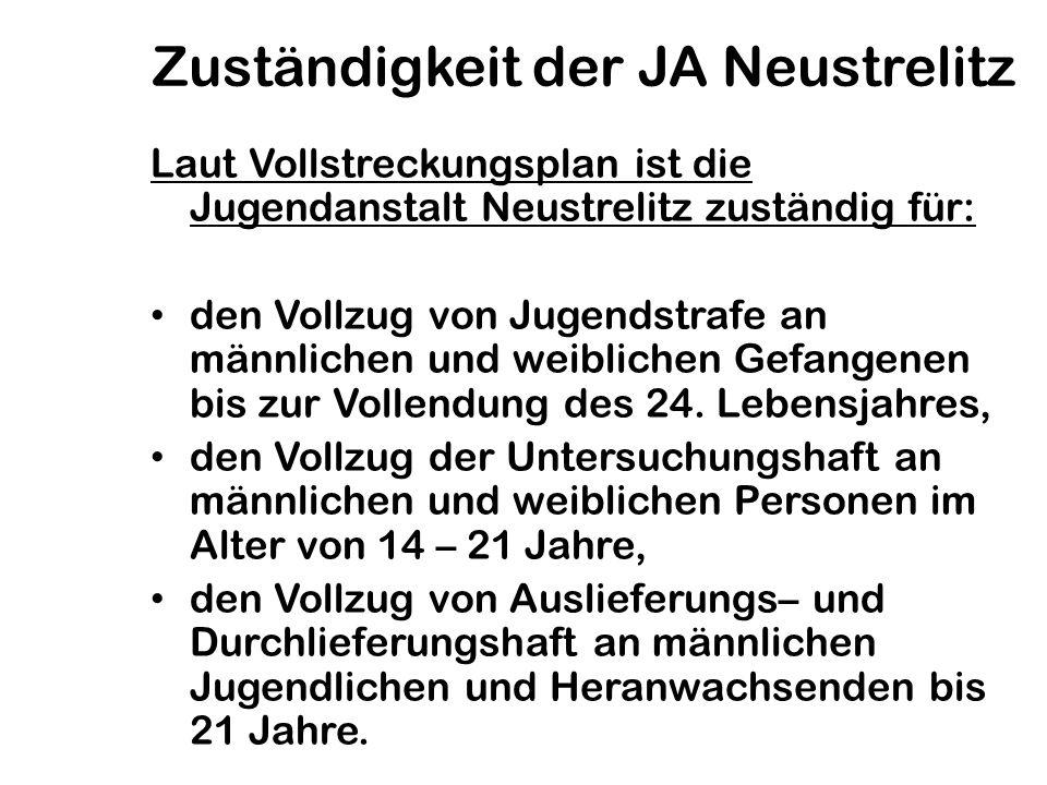 Zuständigkeit der JA Neustrelitz Laut Vollstreckungsplan ist die Jugendanstalt Neustrelitz zuständig für: den Vollzug von Jugendstrafe an männlichen u