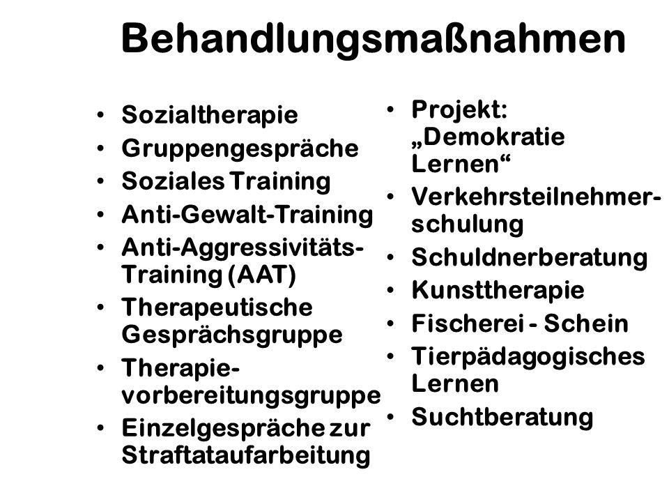 Behandlungsmaßnahmen Sozialtherapie Gruppengespräche Soziales Training Anti-Gewalt-Training Anti-Aggressivitäts- Training (AAT) Therapeutische Gespräc
