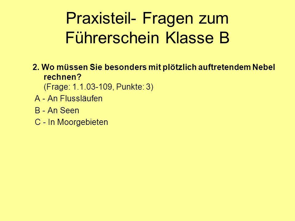 Praxisteil- Fragen zum Führerschein Klasse B 2.