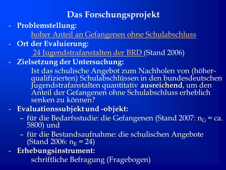 Das Forschungsprojekt - Problemstellung: hoher Anteil an Gefangenen ohne Schulabschluss - Ort der Evaluierung: 24 Jugendstrafanstalten der BRD 24 Juge