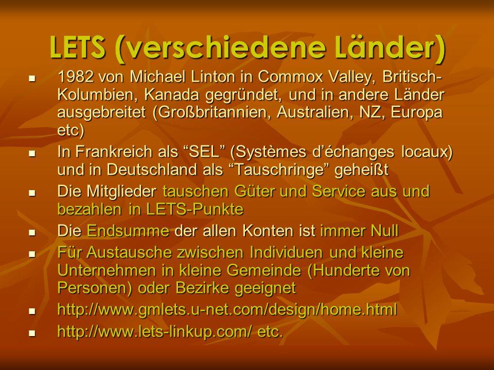 LETS (verschiedene Länder) 1982 von Michael Linton in Commox Valley, Britisch- Kolumbien, Kanada gegründet, und in andere Länder ausgebreitet (Großbri