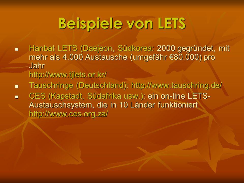 Beispiele von LETS Hanbat LETS (Daejeon, Südkorea: 2000 gegründet, mit mehr als 4.000 Austausche (umgefähr 80.000) pro Jahr http://www.tjlets.or.kr/ H