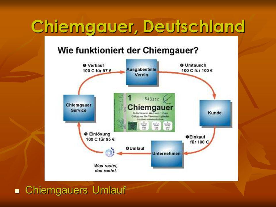Chiemgauer, Deutschland Chiemgauers Umlauf Chiemgauers Umlauf