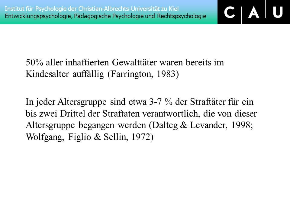 Institut für Psychologie der Christian-Albrechts-Universität zu Kiel Entwicklungspsychologie, Pädagogische Psychologie und Rechtspsychologie 50% aller inhaftierten Gewalttäter waren bereits im Kindesalter auffällig (Farrington, 1983) In jeder Altersgruppe sind etwa 3-7 % der Straftäter für ein bis zwei Drittel der Straftaten verantwortlich, die von dieser Altersgruppe begangen werden (Dalteg & Levander, 1998; Wolfgang, Figlio & Sellin, 1972)