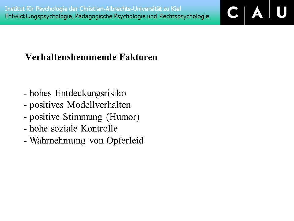 Institut für Psychologie der Christian-Albrechts-Universität zu Kiel Entwicklungspsychologie, Pädagogische Psychologie und Rechtspsychologie Verhaltenshemmende Faktoren - hohes Entdeckungsrisiko - positives Modellverhalten - positive Stimmung (Humor) - hohe soziale Kontrolle - Wahrnehmung von Opferleid