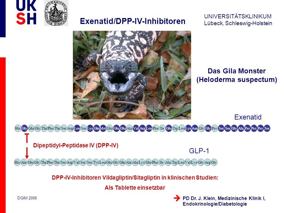 UNIVERSITÄTSKLINIKUM Lübeck, Schleswig-Holstein DGIM 2006 PD Dr. J. Klein, Medizinische Klinik I, Endokrinologie/Diabetologie Exenatid/DPP-IV-Inhibito