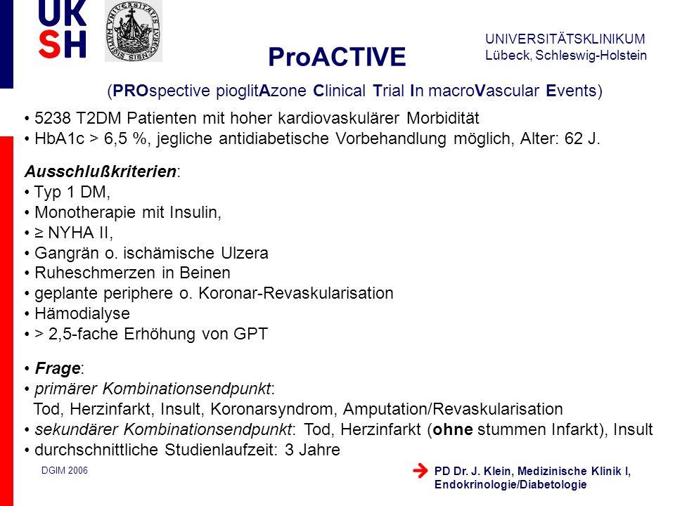 UNIVERSITÄTSKLINIKUM Lübeck, Schleswig-Holstein DGIM 2006 PD Dr. J. Klein, Medizinische Klinik I, Endokrinologie/Diabetologie ProACTIVE (PROspective p
