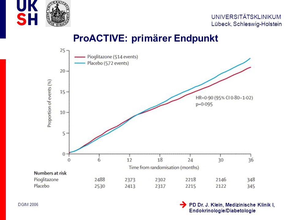 UNIVERSITÄTSKLINIKUM Lübeck, Schleswig-Holstein DGIM 2006 PD Dr. J. Klein, Medizinische Klinik I, Endokrinologie/Diabetologie ProACTIVE: primärer Endp