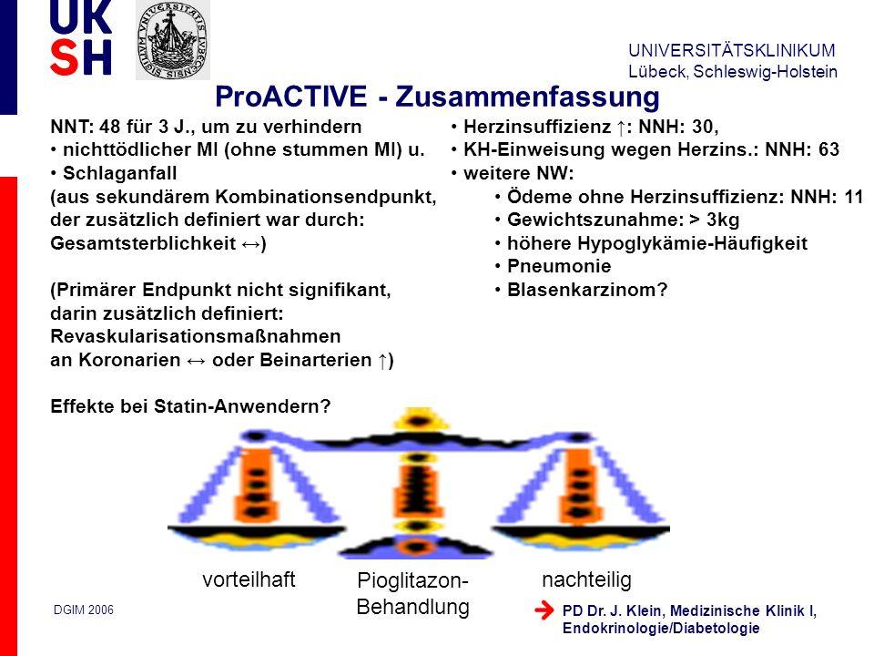 UNIVERSITÄTSKLINIKUM Lübeck, Schleswig-Holstein DGIM 2006 PD Dr. J. Klein, Medizinische Klinik I, Endokrinologie/Diabetologie ProACTIVE - Zusammenfass
