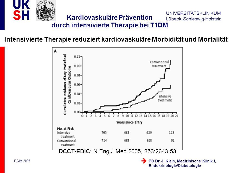 UNIVERSITÄTSKLINIKUM Lübeck, Schleswig-Holstein DGIM 2006 PD Dr. J. Klein, Medizinische Klinik I, Endokrinologie/Diabetologie Kardiovaskuläre Präventi