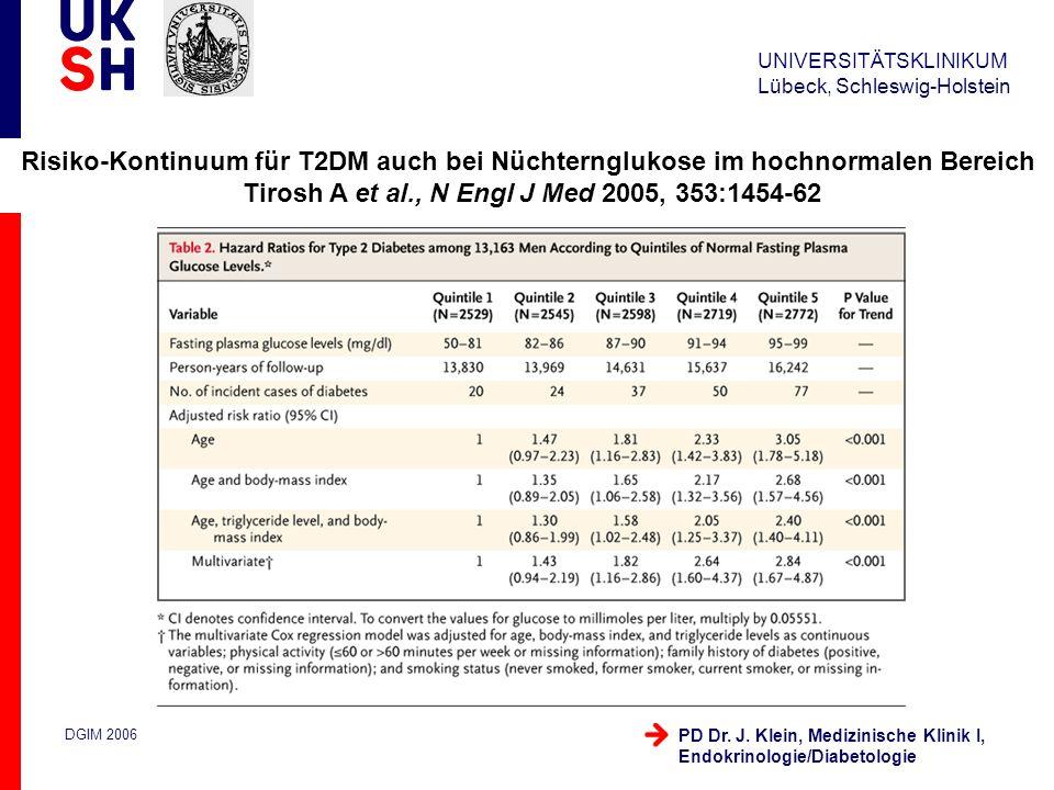 UNIVERSITÄTSKLINIKUM Lübeck, Schleswig-Holstein DGIM 2006 PD Dr. J. Klein, Medizinische Klinik I, Endokrinologie/Diabetologie Risiko-Kontinuum für T2D