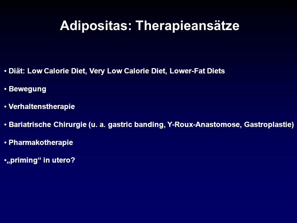 Diät: Low Calorie Diet, Very Low Calorie Diet, Lower-Fat Diets Bewegung Verhaltenstherapie Bariatrische Chirurgie (u. a. gastric banding, Y-Roux-Anast