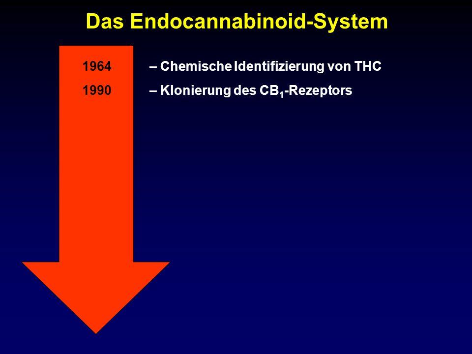 Das Endocannabinoid-System 1990– Klonierung des CB 1 -Rezeptors 1964– Chemische Identifizierung von THC