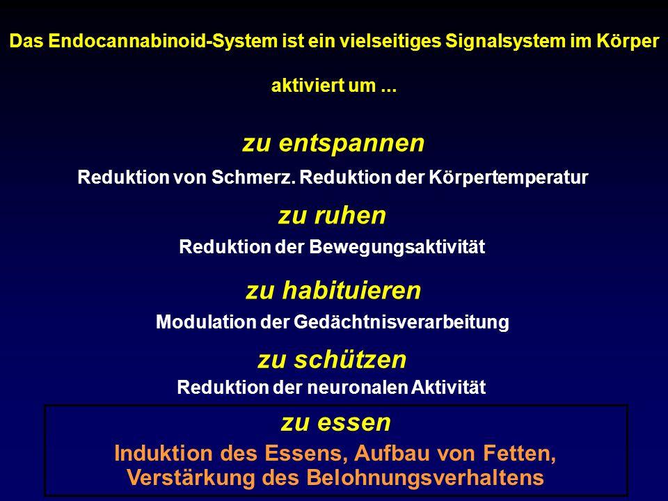 Das Endocannabinoid-System ist ein vielseitiges Signalsystem im Körper aktiviert um... zu ruhen Reduktion der Bewegungsaktivität zu habituieren Modula