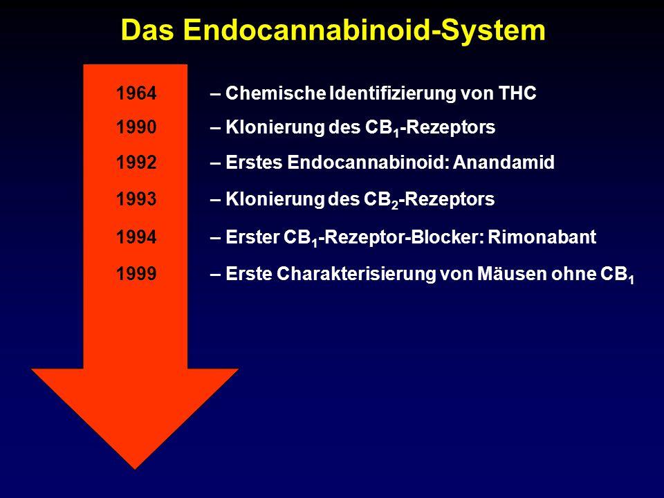 Das Endocannabinoid-System 1990 1992 1993 1994 – Klonierung des CB 1 -Rezeptors – Erstes Endocannabinoid: Anandamid – Klonierung des CB 2 -Rezeptors –