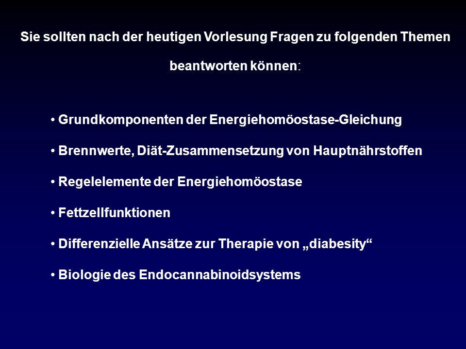 Grundkomponenten der Energiehomöostase-Gleichung Brennwerte, Diät-Zusammensetzung von Hauptnährstoffen Regelelemente der Energiehomöostase Fettzellfun