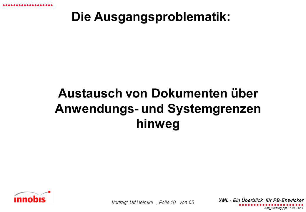 ........................ XML - Ein Überblick für PB-Entwicker................... Xml_vortrag.ppt 07.01.2014 Vortrag: Ulf Helmke, Folie 10 von 65 Austa