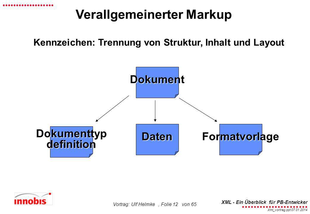 ........................ XML - Ein Überblick für PB-Entwicker................... Xml_vortrag.ppt 07.01.2014 Vortrag: Ulf Helmke, Folie 12 von 65 Veral