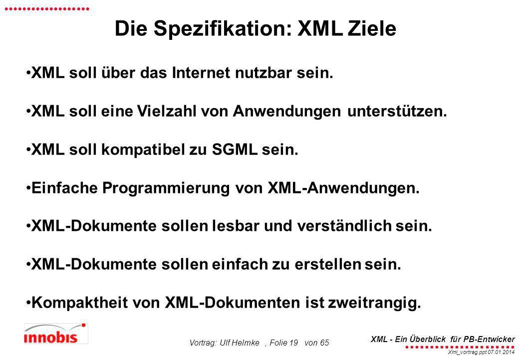 ........................ XML - Ein Überblick für PB-Entwicker................... Xml_vortrag.ppt 07.01.2014 Vortrag: Ulf Helmke, Folie 19 von 65 XML s