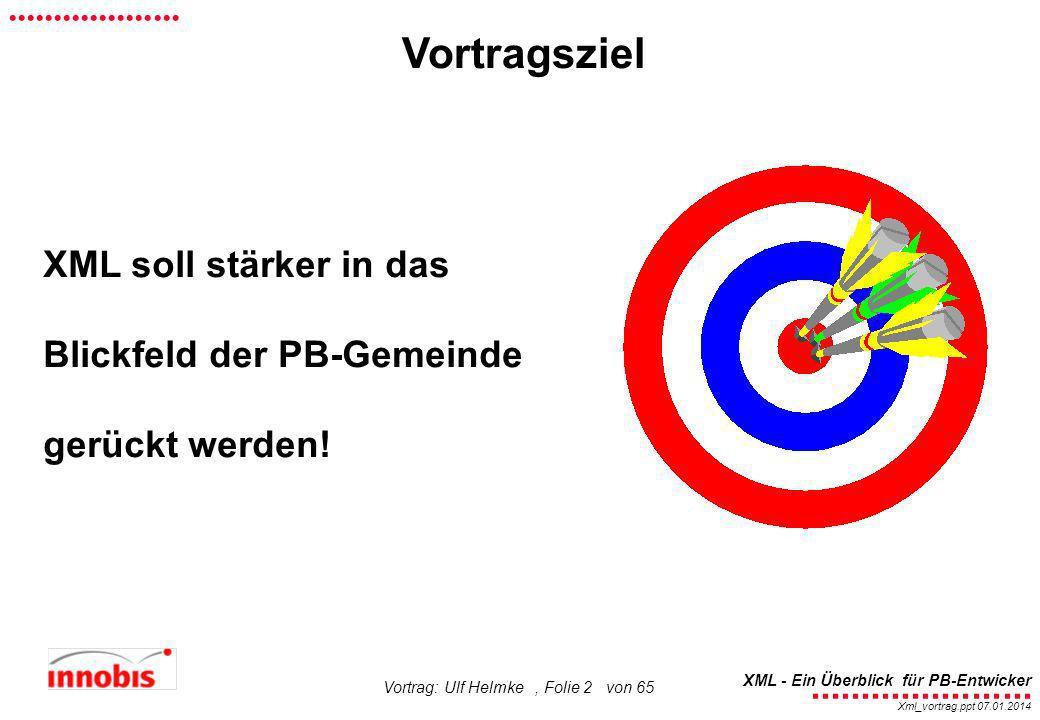 ........................ XML - Ein Überblick für PB-Entwicker................... Xml_vortrag.ppt 07.01.2014 Vortrag: Ulf Helmke, Folie 2 von 65 Vortra