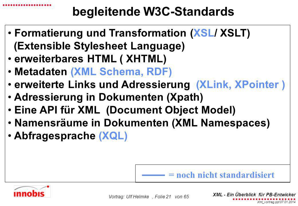 ........................ XML - Ein Überblick für PB-Entwicker................... Xml_vortrag.ppt 07.01.2014 Vortrag: Ulf Helmke, Folie 21 von 65 begle
