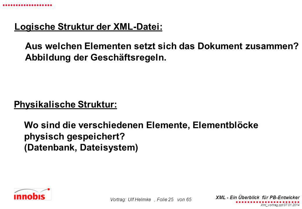 ........................ XML - Ein Überblick für PB-Entwicker................... Xml_vortrag.ppt 07.01.2014 Vortrag: Ulf Helmke, Folie 25 von 65 Logis