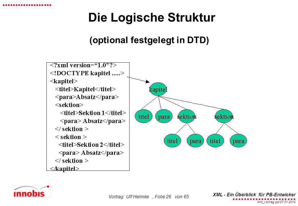 ........................ XML - Ein Überblick für PB-Entwicker................... Xml_vortrag.ppt 07.01.2014 Vortrag: Ulf Helmke, Folie 26 von 65 Die L