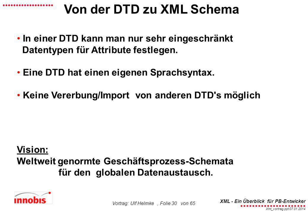 ........................ XML - Ein Überblick für PB-Entwicker................... Xml_vortrag.ppt 07.01.2014 Vortrag: Ulf Helmke, Folie 30 von 65 In ei