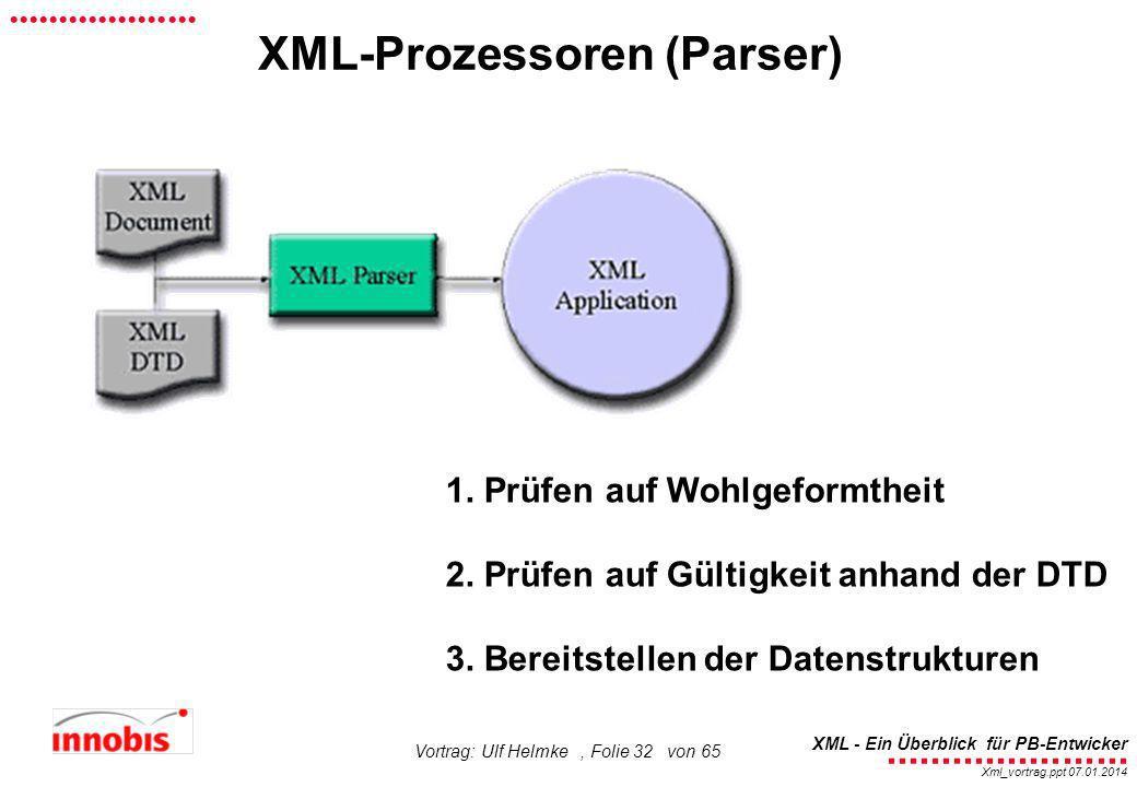 ........................ XML - Ein Überblick für PB-Entwicker................... Xml_vortrag.ppt 07.01.2014 Vortrag: Ulf Helmke, Folie 32 von 65 XML-P