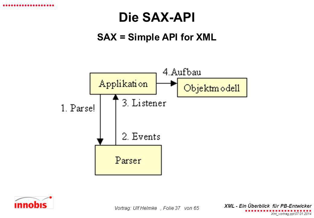 ........................ XML - Ein Überblick für PB-Entwicker................... Xml_vortrag.ppt 07.01.2014 Vortrag: Ulf Helmke, Folie 37 von 65 Die S