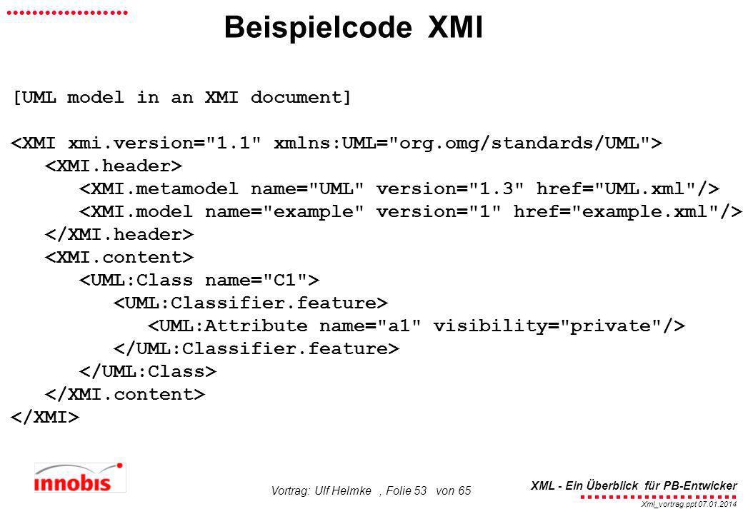 ........................ XML - Ein Überblick für PB-Entwicker................... Xml_vortrag.ppt 07.01.2014 Vortrag: Ulf Helmke, Folie 53 von 65 Beisp