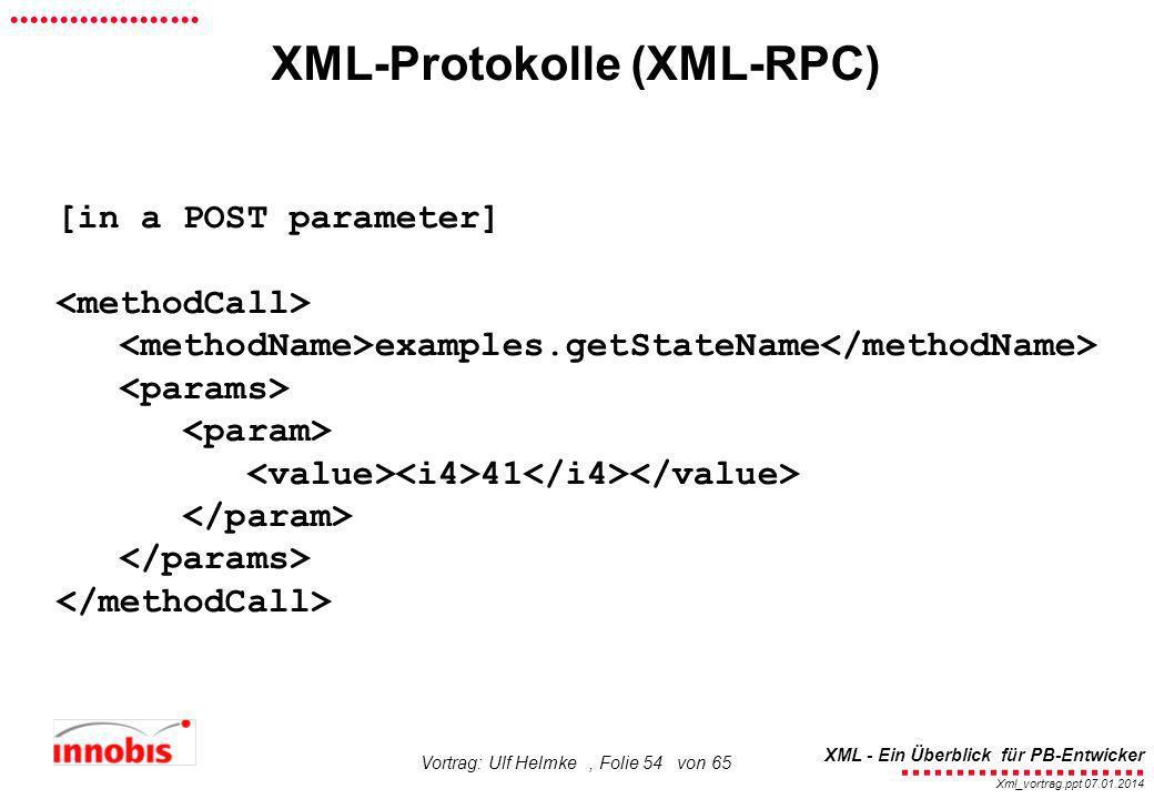 ........................ XML - Ein Überblick für PB-Entwicker................... Xml_vortrag.ppt 07.01.2014 Vortrag: Ulf Helmke, Folie 54 von 65 XML-P