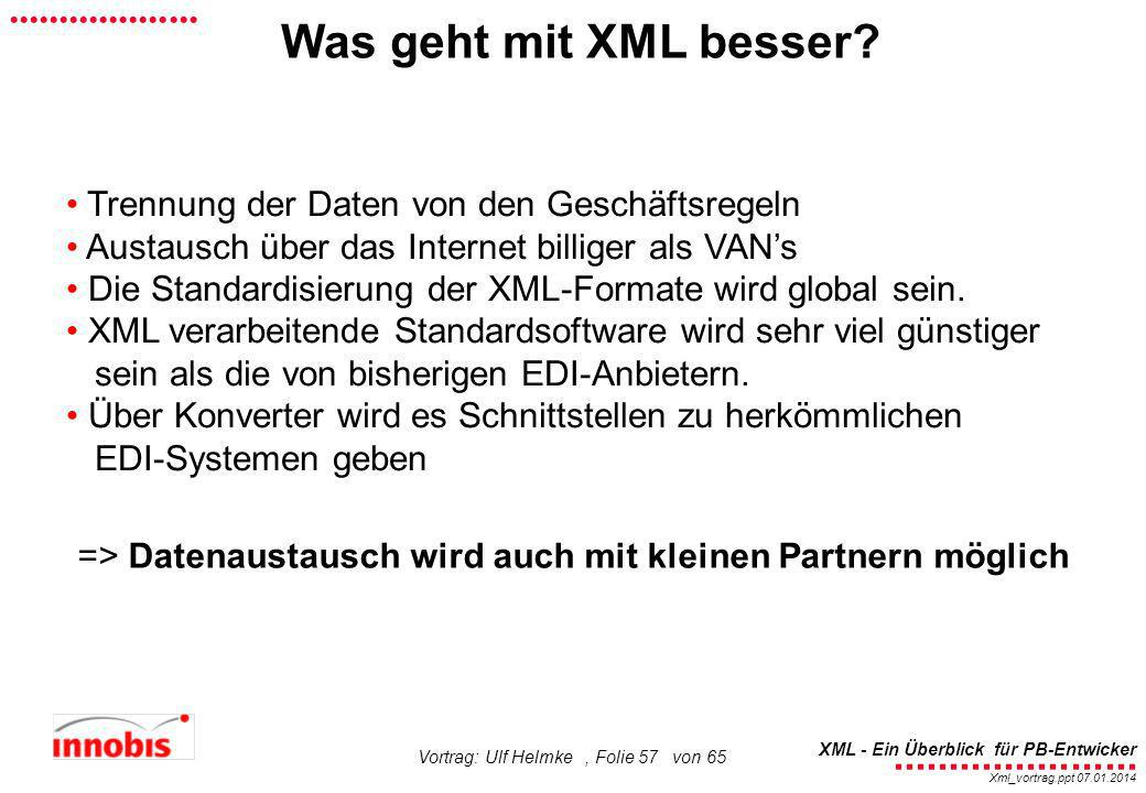 ........................ XML - Ein Überblick für PB-Entwicker................... Xml_vortrag.ppt 07.01.2014 Vortrag: Ulf Helmke, Folie 57 von 65 Was g