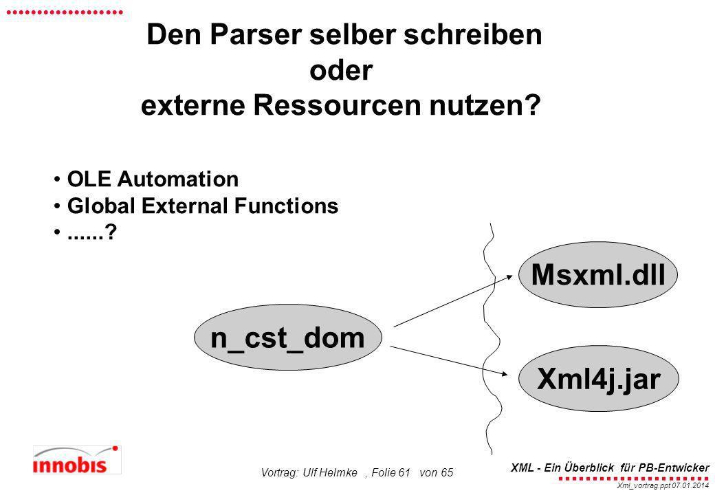 ........................ XML - Ein Überblick für PB-Entwicker................... Xml_vortrag.ppt 07.01.2014 Vortrag: Ulf Helmke, Folie 61 von 65 Den P