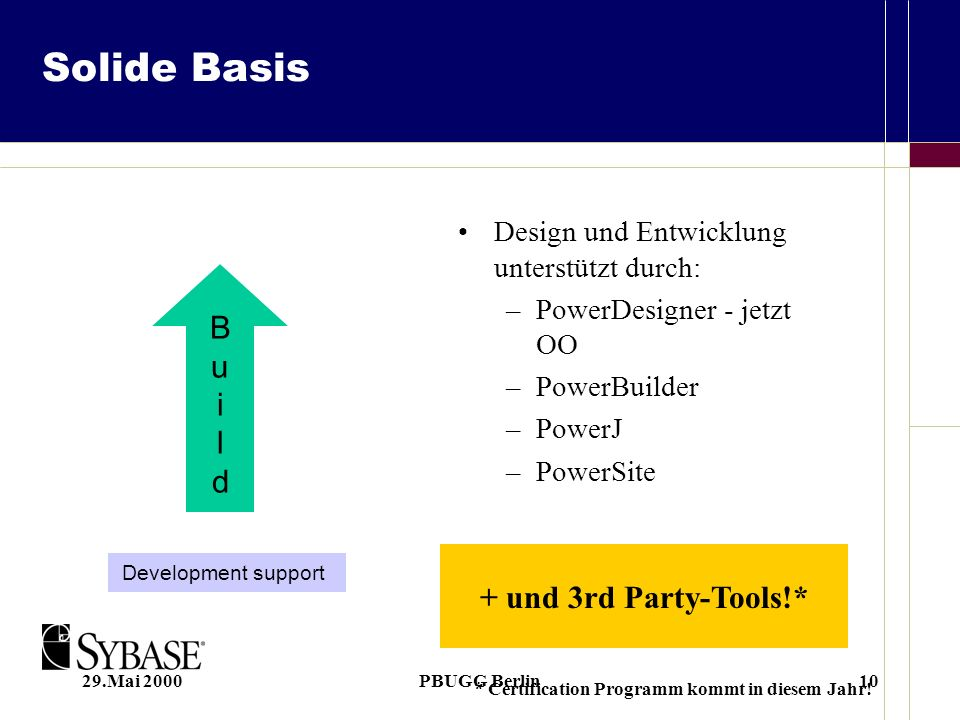29.Mai 2000PBUGG Berlin10 Solide Basis Design und Entwicklung unterstützt durch: –PowerDesigner - jetzt OO –PowerBuilder –PowerJ –PowerSite Development support BuildBuild + und 3rd Party-Tools!* * Certification Programm kommt in diesem Jahr!