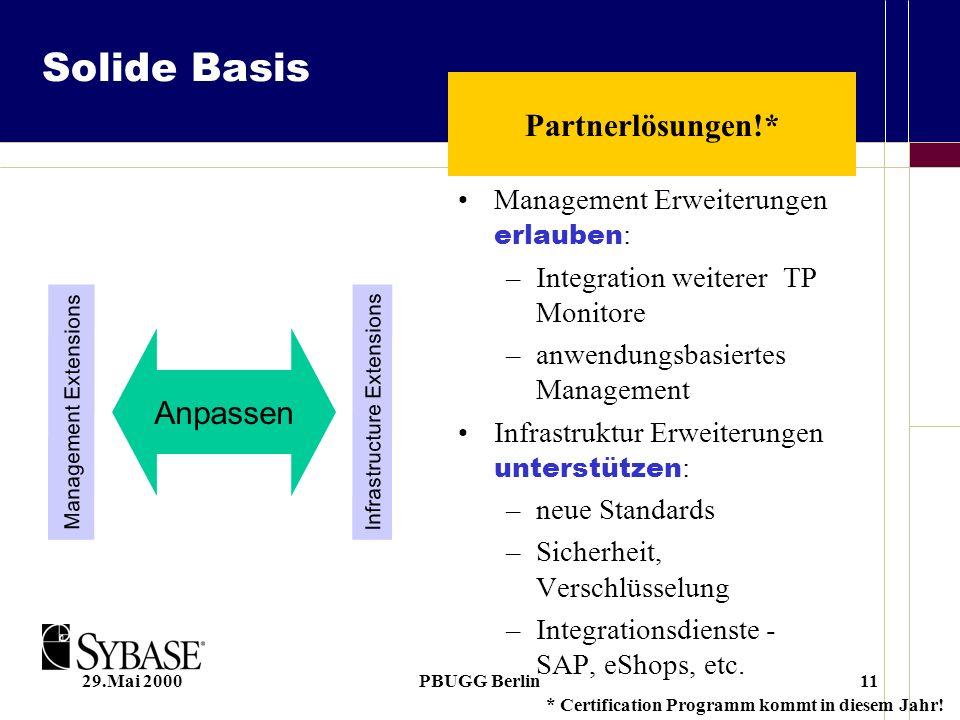 29.Mai 2000PBUGG Berlin11 Solide Basis Management Erweiterungen erlauben : –Integration weiterer TP Monitore –anwendungsbasiertes Management Infrastruktur Erweiterungen unterstützen : –neue Standards –Sicherheit, Verschlüsselung –Integrationsdienste - SAP, eShops, etc.