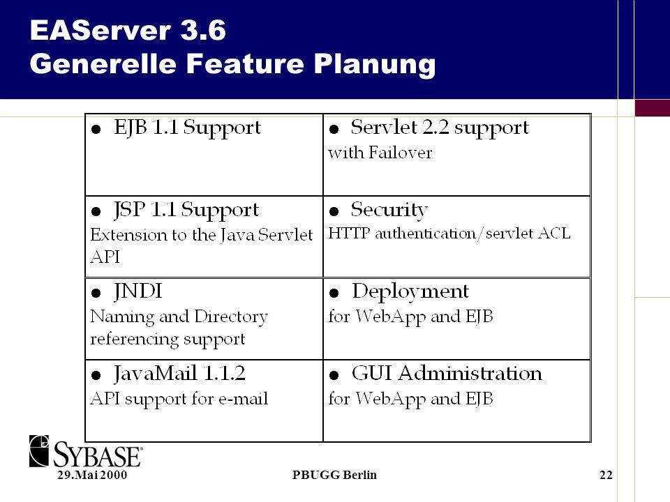 29.Mai 2000PBUGG Berlin22 EAServer 3.6 Generelle Feature Planung