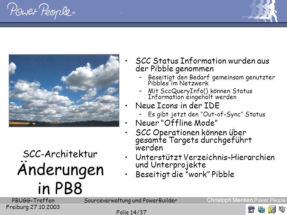 Christoph Menken, PBUGG-Treffen Freiburg 27.10.2003 Sourceverwaltung und PowerBuilder Folie 14/37 SCC-Architektur Änderungen in PB8 SCC Status Informa