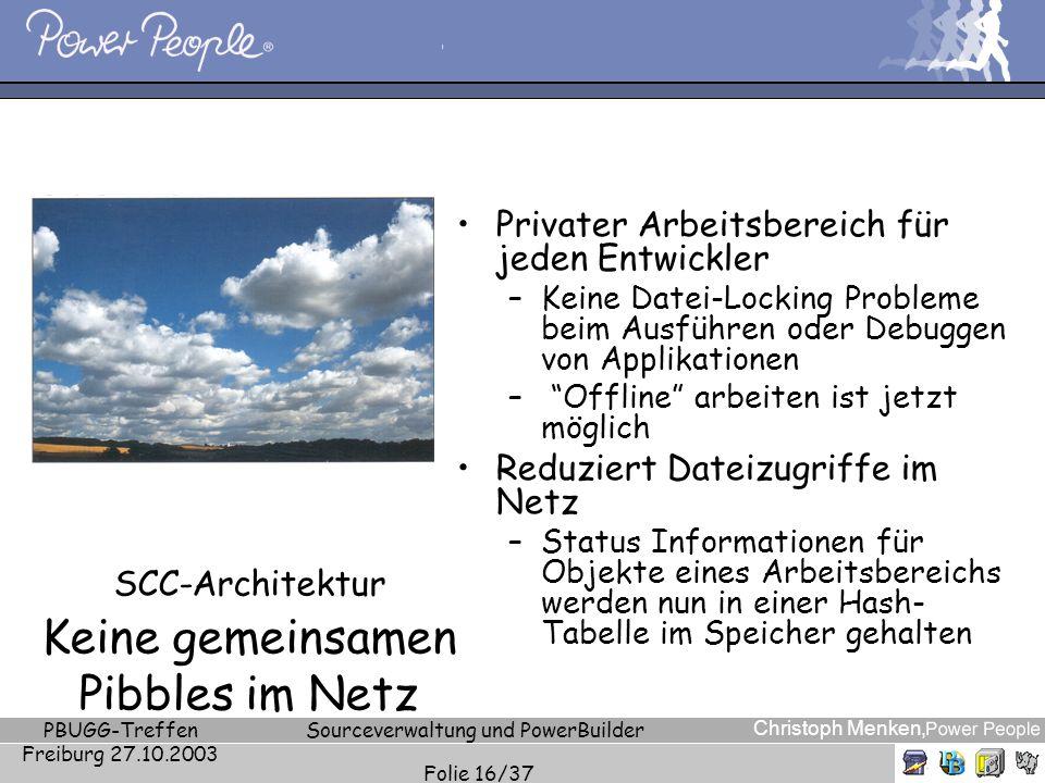 Christoph Menken, PBUGG-Treffen Freiburg 27.10.2003 Sourceverwaltung und PowerBuilder Folie 16/37 SCC-Architektur Keine gemeinsamen Pibbles im Netz Pr