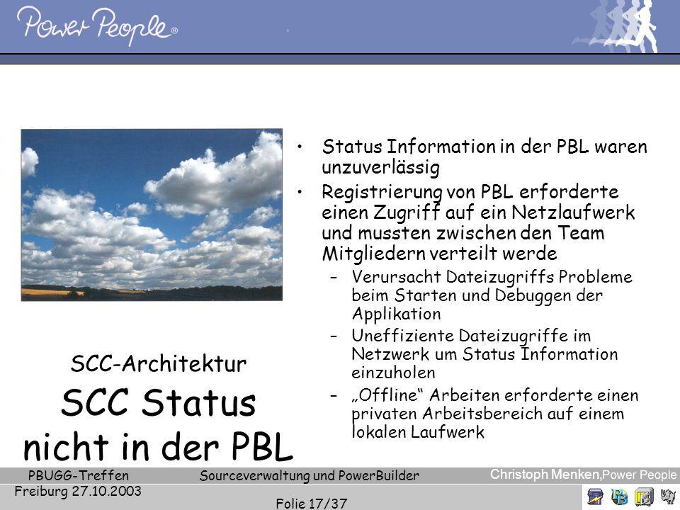 Christoph Menken, PBUGG-Treffen Freiburg 27.10.2003 Sourceverwaltung und PowerBuilder Folie 17/37 SCC-Architektur SCC Status nicht in der PBL Status I