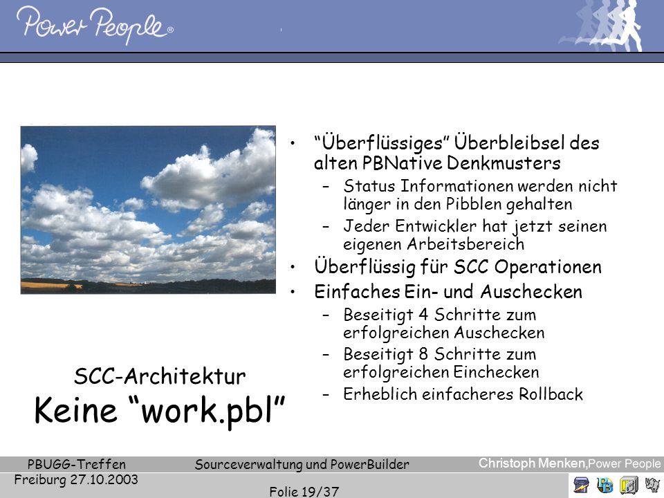 Christoph Menken, PBUGG-Treffen Freiburg 27.10.2003 Sourceverwaltung und PowerBuilder Folie 19/37 SCC-Architektur Keine work.pbl Überflüssiges Überble
