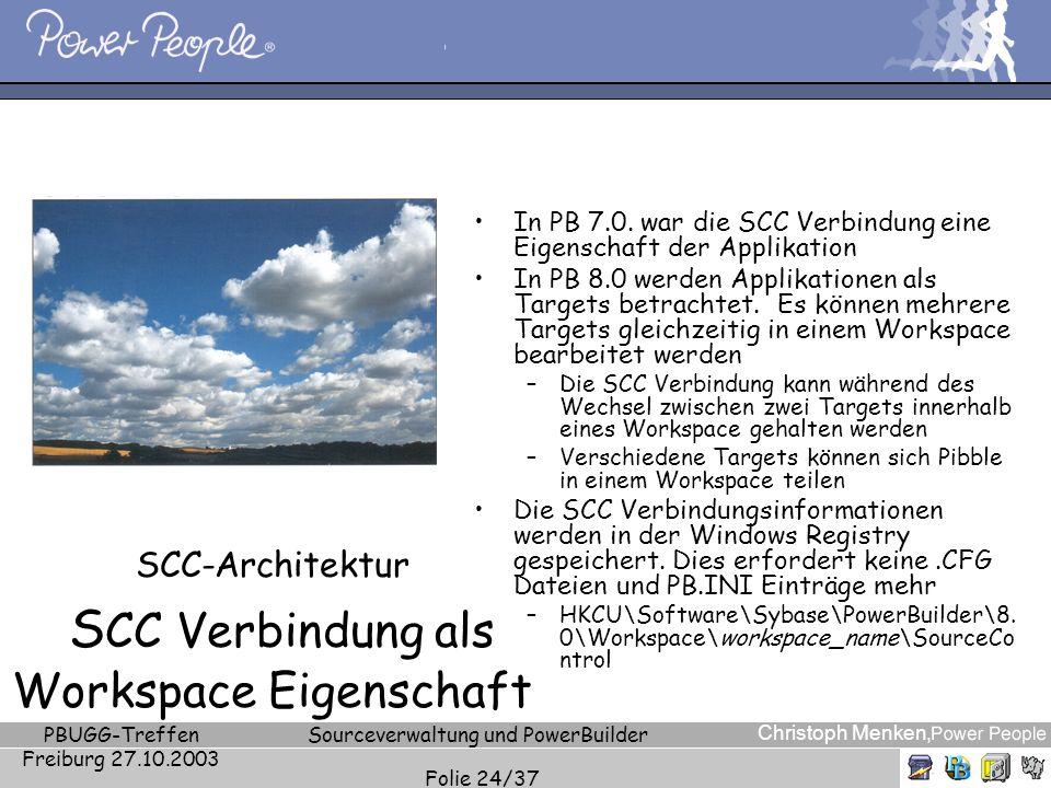 Christoph Menken, PBUGG-Treffen Freiburg 27.10.2003 Sourceverwaltung und PowerBuilder Folie 24/37 SCC-Architektur S CC Verbindung als Workspace Eigens