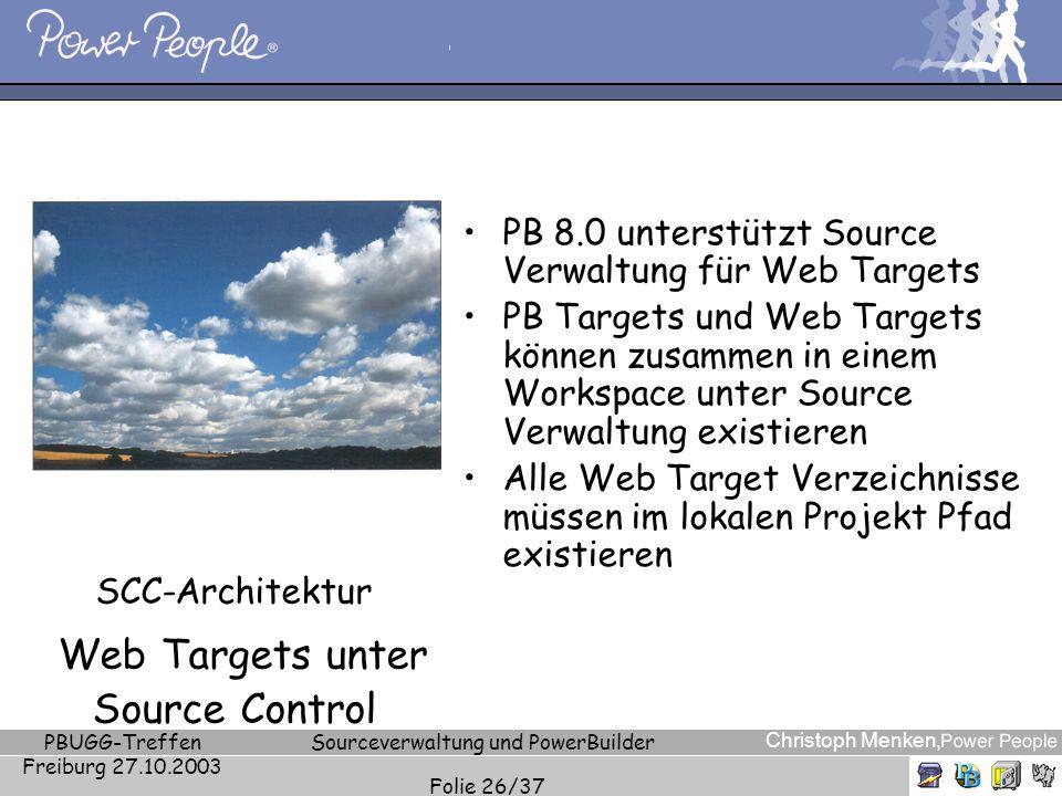 Christoph Menken, PBUGG-Treffen Freiburg 27.10.2003 Sourceverwaltung und PowerBuilder Folie 26/37 SCC-Architektur Web Targets unter Source Control PB