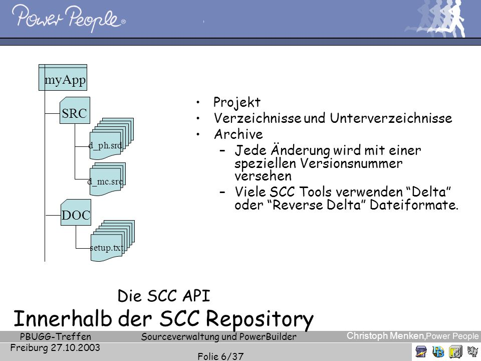 Christoph Menken, PBUGG-Treffen Freiburg 27.10.2003 Sourceverwaltung und PowerBuilder Folie 7/37 Die SCC API SCC Terminologie Server Konfiguration (Server Configuration) Projekt (Project) Sicht (View) Ordner (Folder) Archive Labels Arbeitsordner (Working Folder)