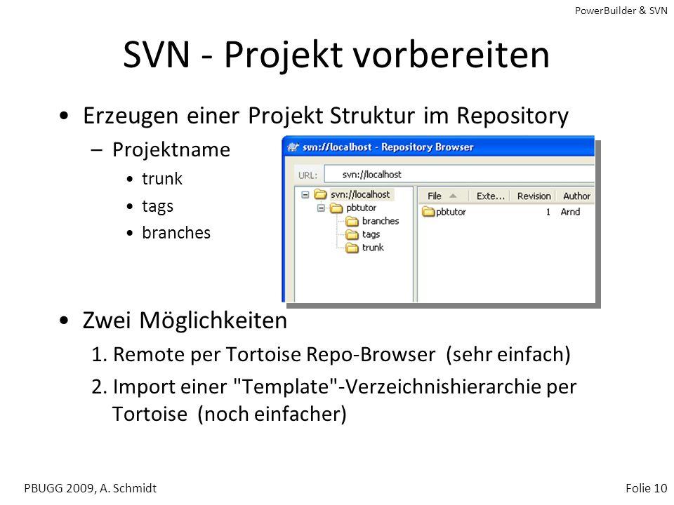 PowerBuilder & SVN PBUGG 2009, A. SchmidtFolie 9 Tortoise SVN Explorer Integration –Checkout –Update –Add / Remove –Commit –Lock / Unlock uvm. Reposit