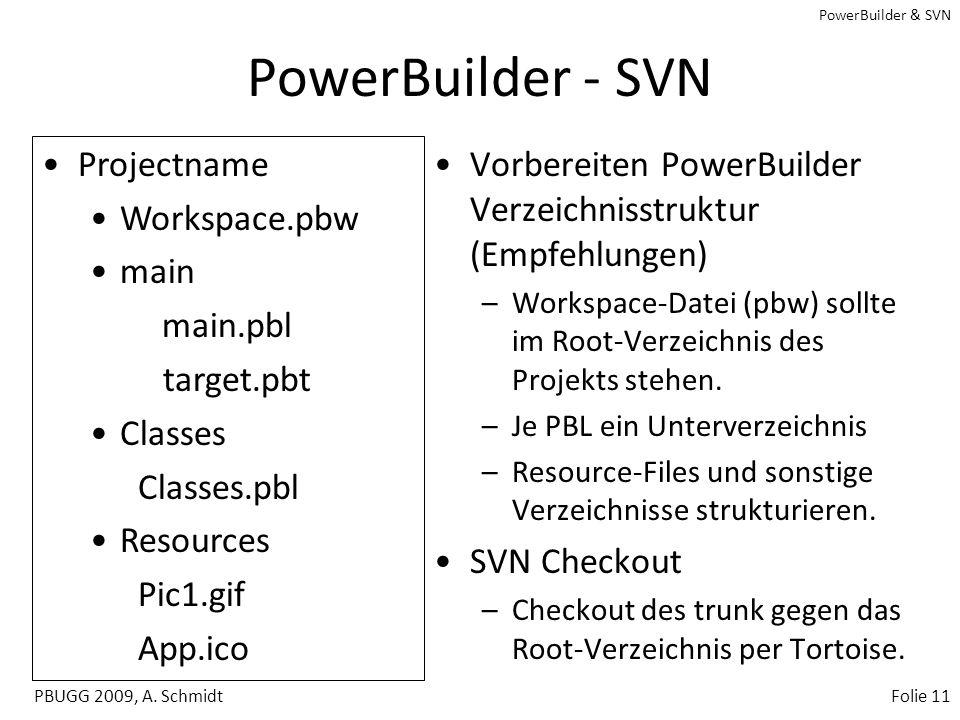 PowerBuilder & SVN PBUGG 2009, A. SchmidtFolie 10 SVN - Projekt vorbereiten Erzeugen einer Projekt Struktur im Repository –Projektname trunk tags bran