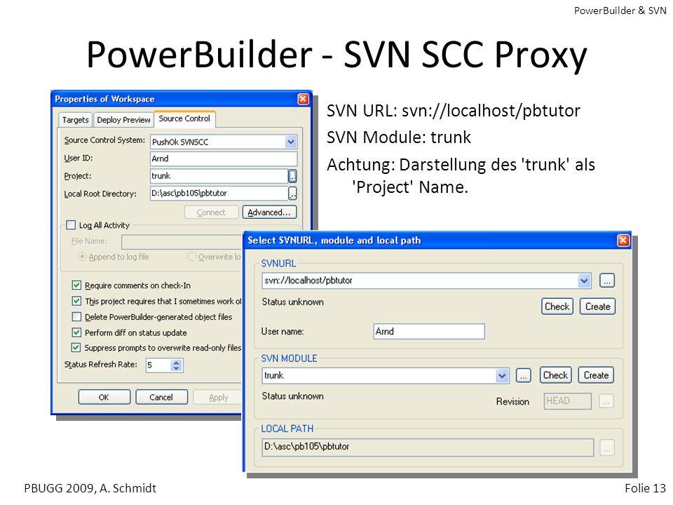 PowerBuilder & SVN PBUGG 2009, A. SchmidtFolie 12 Tortoise - SVN Checkout 1. Root-Verzeichnis auswählen und